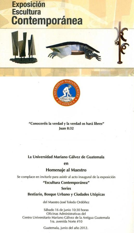 03.12.2014-Invitación Antigua Guatemala, UMG, Expo Esculturas Peligrosas
